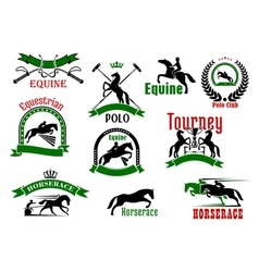Horses with riders icons for equestrian design vector image