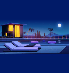 house and swimming pool at night vector image