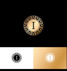 i gold letter monogram gold circle lace ornament vector image