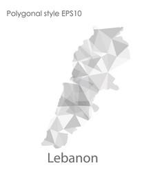Isolated icon lebanon map polygonal geometric vector
