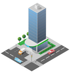isometric icon high glass building vector image