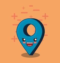 Kawaii location pin icon vector