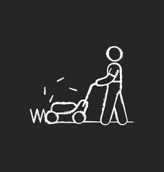 lawn mower chalk white icon on black background vector image