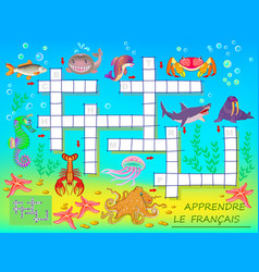 Learn french crossword puzzle game with sea vector
