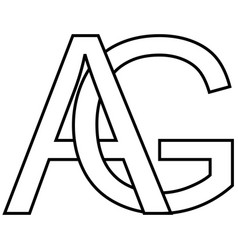 logo icon ag icon sign two interlaced letters a g vector image