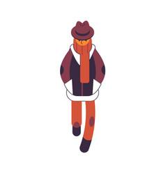 Man in brown autumn clothes vector