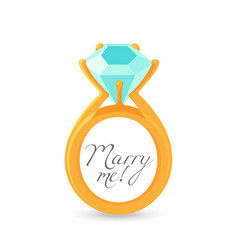 Marry me sign and gold engagement ring with vector