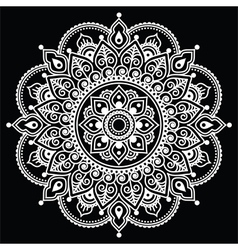 Mehndi Indian Henna tattoo white pattern on black vector