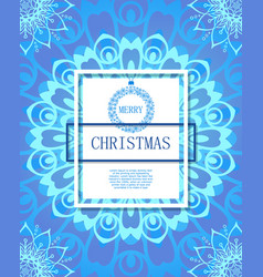 merry christmas on the background of snow and vector image