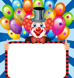 merry clown with balloons holding vector image