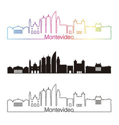 Montevideo skyline linear style with rainbow vector