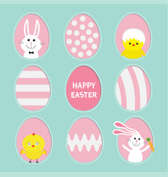 painted pattern egg frame set bunny rabbit hare vector image