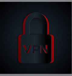 Paper cut lock vpn icon isolated on black vector