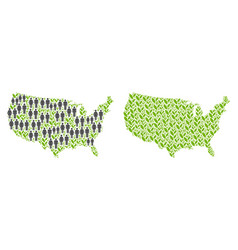 People and flora usa map vector