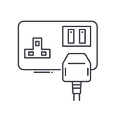 Plug icon linear isolated thin line vector