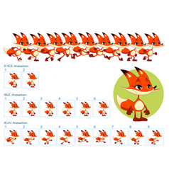 run blinking eyes and idle animations fox vector image