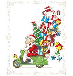 Santa Claus on Scooter Silly Cartoon vector