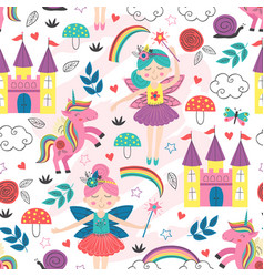 seamless pattern with fairy characters vector image