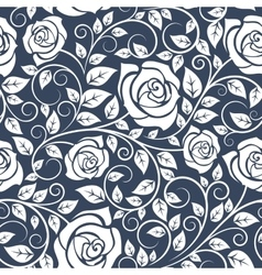 seamless pattern with stems white roses vector image