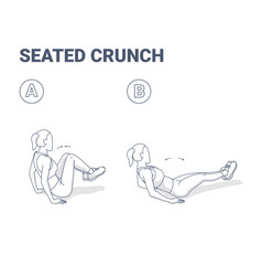 Seated crunch woman abs home workout exercise vector