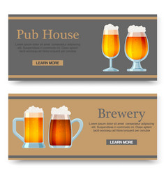 set cartoon banners with beer glasses vector image