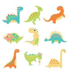 Set cute dinosaurs vector