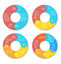 set of round infographic diagram vector image