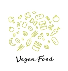 set of the vegan food icons Vegetables and fruits vector image