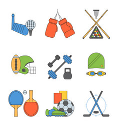 set sport icons in flat design line vector image