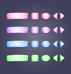shiny glass buttons different shapes vector image