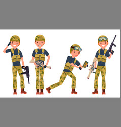 soldier male with gun silhouette shooter vector image