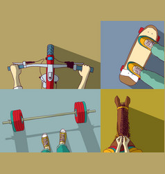 Sports set bicycle skateboard powerlifting horse vector