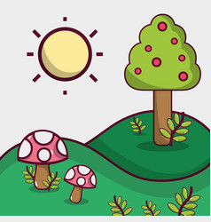 Spring season with mountains and fungus plant vector