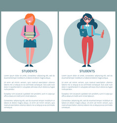 students poster with female pupils holding books vector image