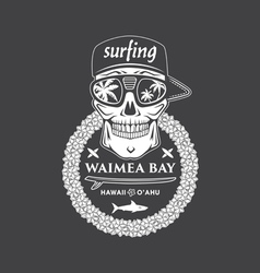 Surfing skull hawaii vector