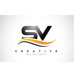 Sv s v swoosh letter logo design with modern vector
