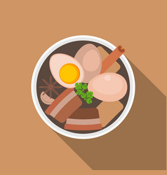 Thai food pa lostewed pork with eggs flat desi vector