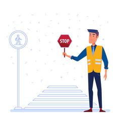 Traffic security guard with stop sign in front of vector