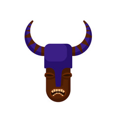Tribal mask with angry face and purple helmet with vector
