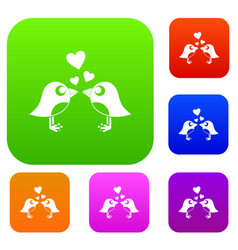 two birds with hearts set color collection vector image