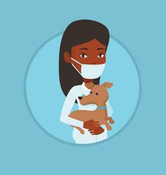 veterinarian with dog in hands vector image