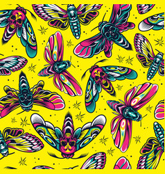 vintage insects colorful seamless pattern vector image