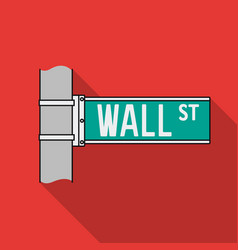Wall street sign icon in flat style isolated on vector