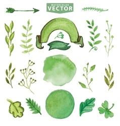 Watercolor green decor branches Floralpetal set vector image