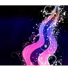 wave with floral vector image