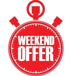 Weekend offer red stopwatch vector
