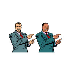white and black businessman pointing finger vector image