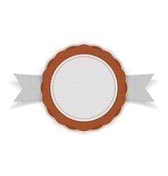 White and orange festive Emblem on Ribbon vector image