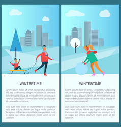 Wintertime and cityscape set vector