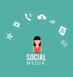 Woman with social media icon vector